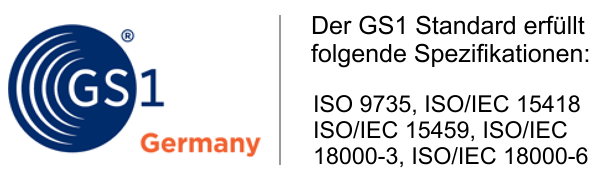 GS1 Spezifikation ISO 9735, ISO/IEC 15418, ISO/IEC 15459, ISO/IEC 18000-3 und ISO/IEC 18000-6